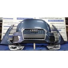 """""""Морда"""" в сборе Audi Ауди Q3 2014-2019, цвет - серо-голубой: капот, крылья, фары, установочная панель"""