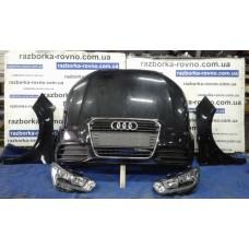 """""""Морда"""" в сборе Audi A1 2010-2018, цвет - черный: капот, бампер, крылья, фары"""