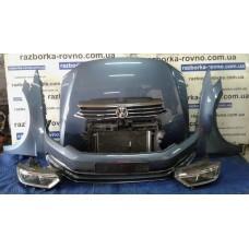 """""""Морда"""" в сборе Volkswagen Passat B8 2014+, цвет - cветло-синий: бампер, крылья, фары, установочная панель, подкрылки Фольксваген"""